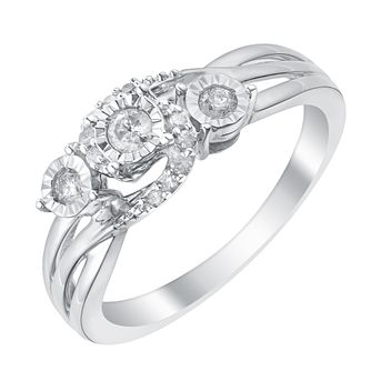 9ct White Gold Illusion Set Diamond Trilogy Ring - Product number 3094693