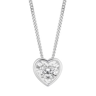 9ct White Gold 1/10ct Heart Diamond Illusion Set Pendant - Product number 3100367