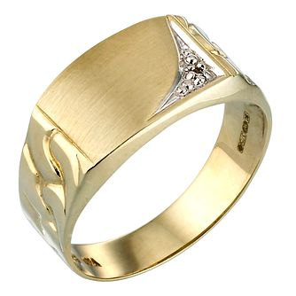 9ct Gold Diamond Signet Ring - Product number 3100707