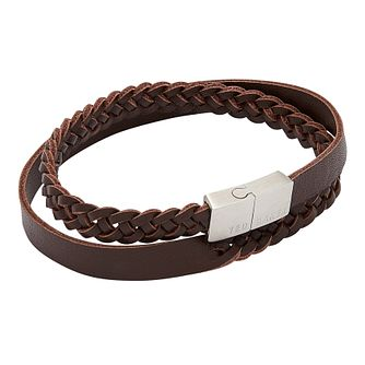 Ted Baker Trabek Men's Brown Leather Double Bracelet - Product number 3104508