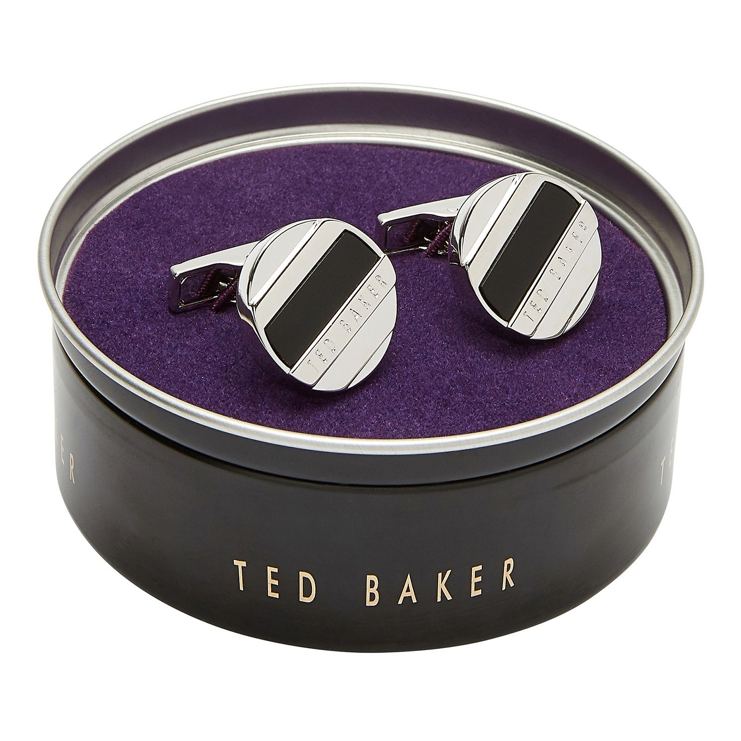 Ted Baker Missed Round Black Stripe Cufflinks - Product number 3104737