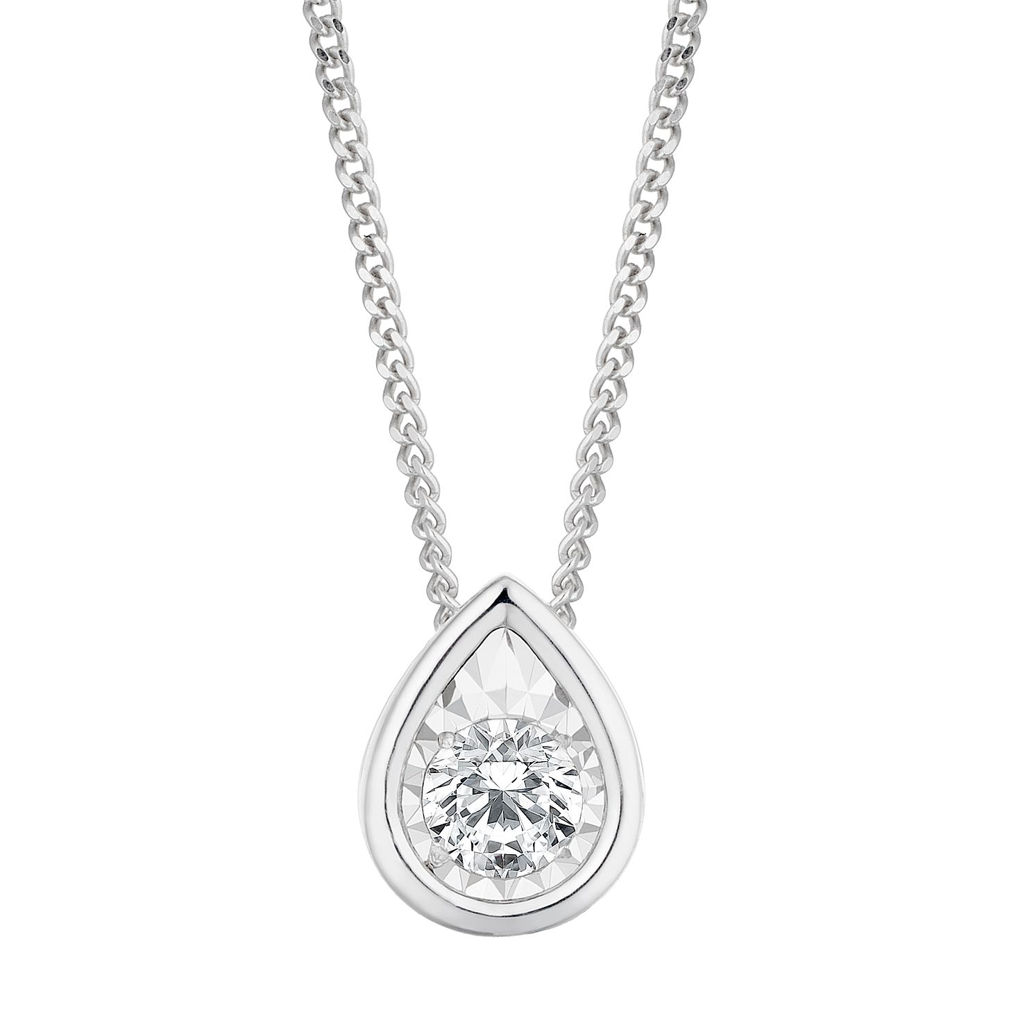 9ct White Gold 1/10ct Pear Diamond Illusion Set Pendant - Product number 3104788
