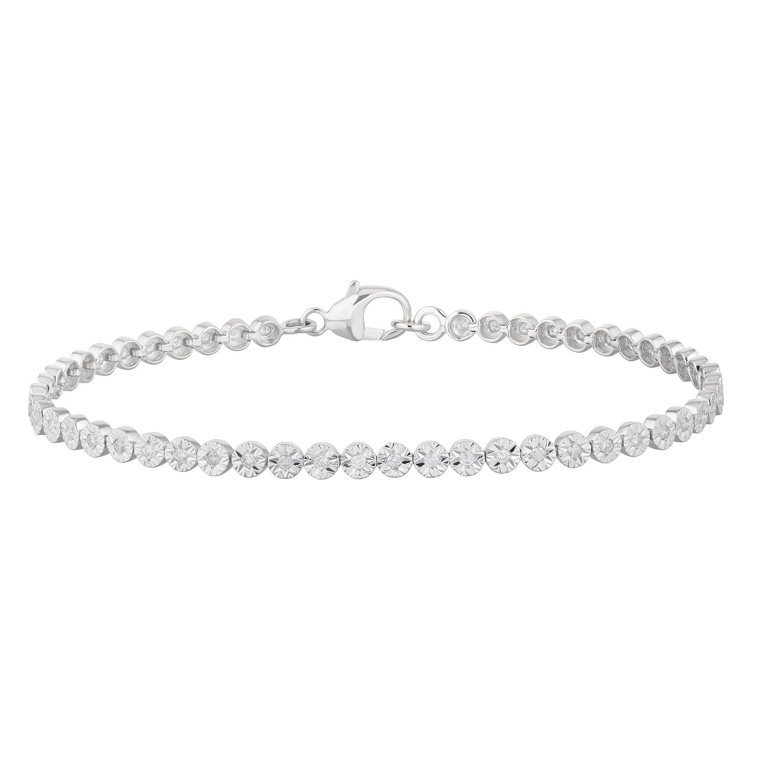 9ct White Gold 1/2ct Diamond Illusion Set Tennis Bracelet - Product number 3104826