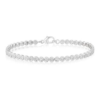 9ct White Gold 1ct Diamond Tennis Bracelet - Product number 3105342