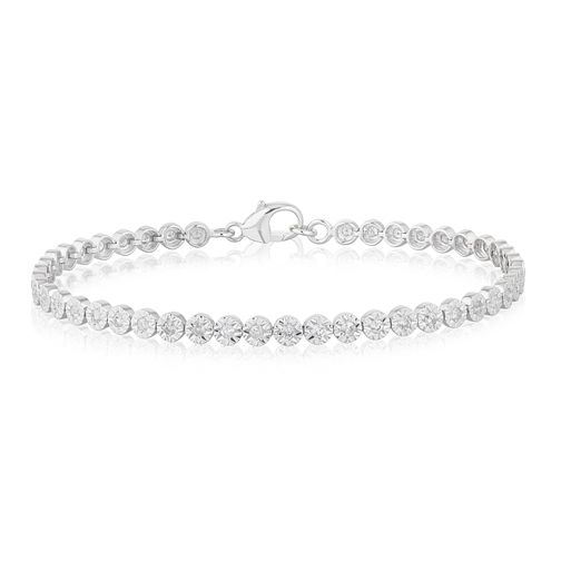 9ct White Gold 1ct Diamond Illusion Set Tennis Bracelet - Product number 3105342