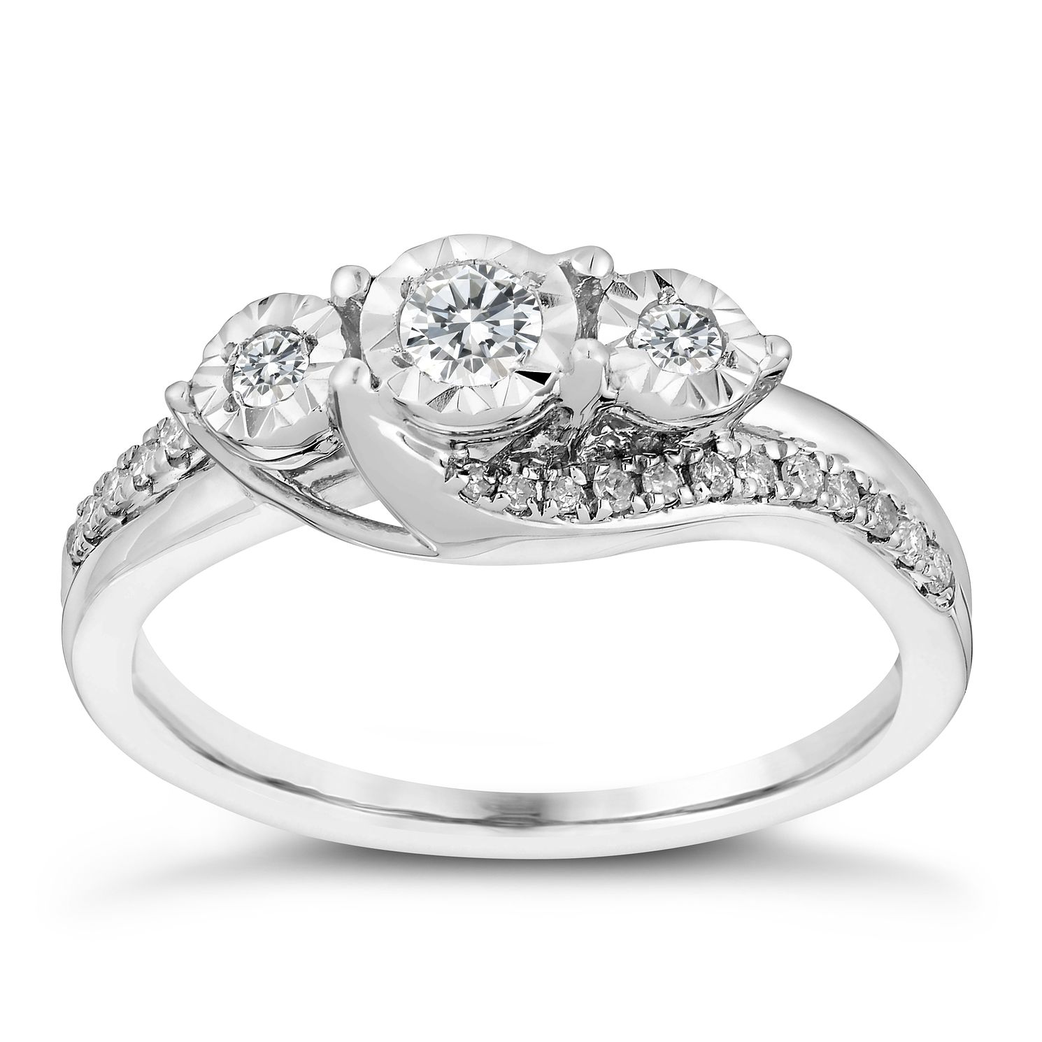 9ct White Gold 1/4ct Illusion Set Diamond Ring - Product number 3107094