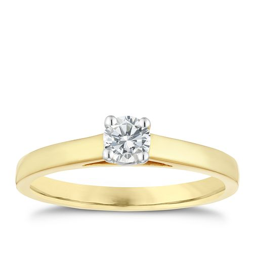18ct gold 1/4ct claw set solitaire diamond ring - Product number 3107485