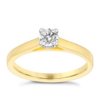 18ct gold 1/3ct claw set solitaire diamond ring - Product number 3107612