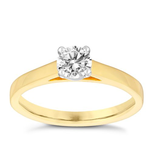 18ct gold 1/2ct claw set solitaire diamond ring - Product number 3107760