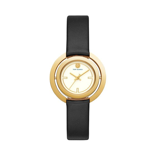 Tory Burch Ladies' Gold Tone Black Leather Strap Watch - Product number 3108198