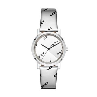 DKNY Soho Ladies' Silver Leather Strap Watch - Product number 3108481