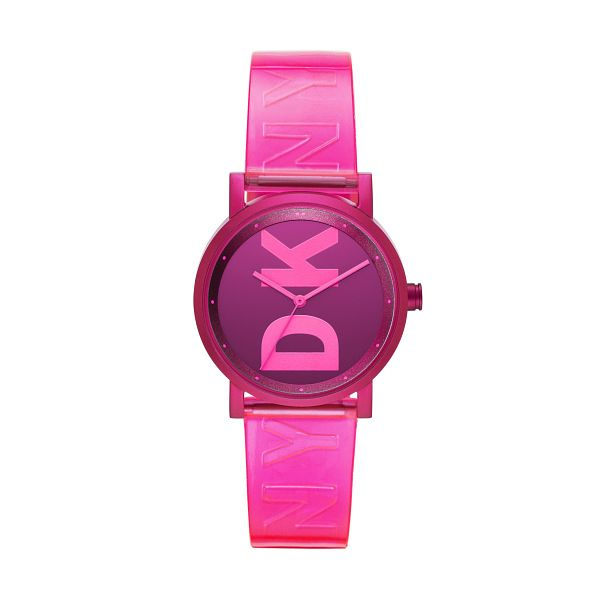 DKNY Ladies' Aluminium Pink Strap Watch - Product number 3108546