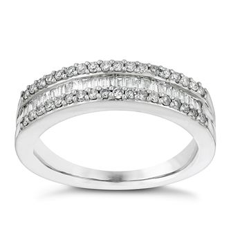 18ct white gold 1/3ct round & baguette diamond eternity ring - Product number 3110257