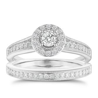 9ct white gold 1/2ct round diamond halo bridal set - Product number 3110478