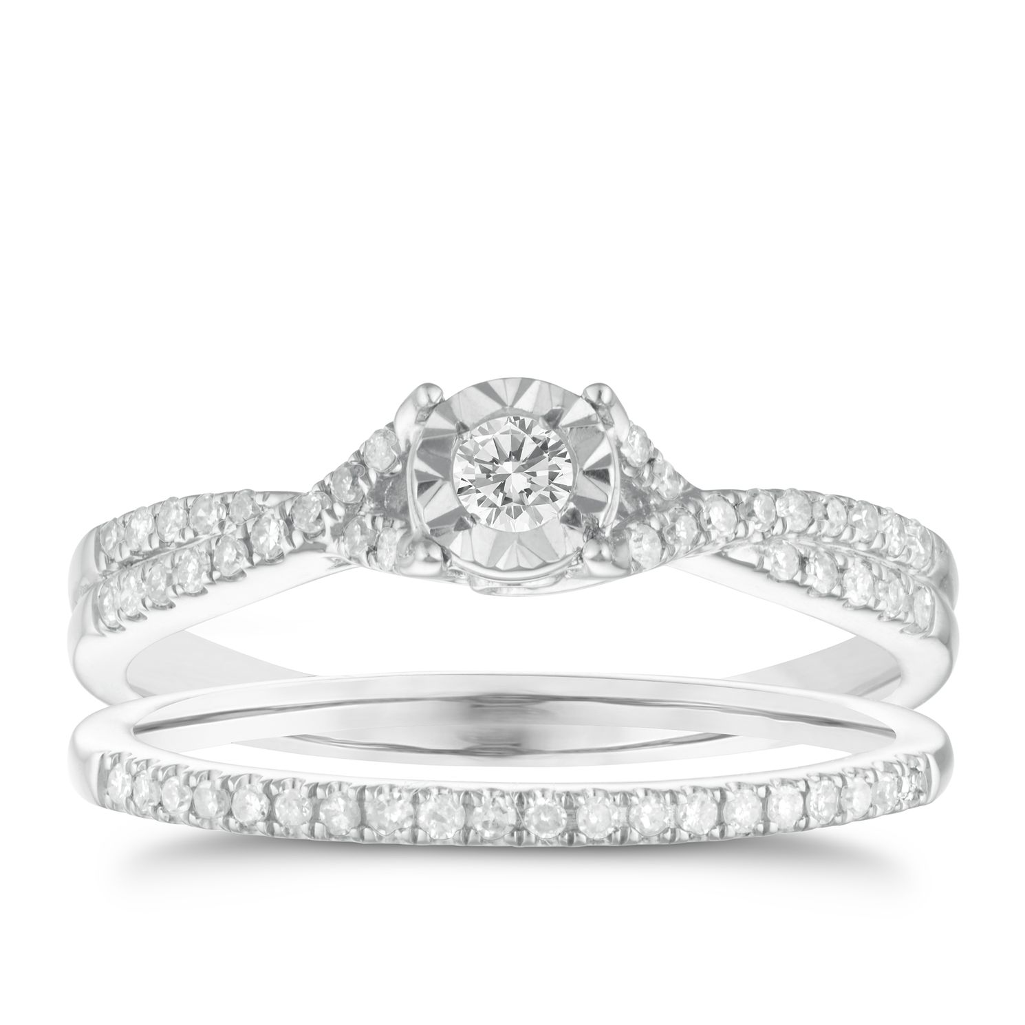 9ct White Gold 1/4ct Illusion Set Diamond Bridal Set - Product number 3110877