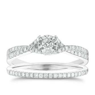 9ct white gold 25pt illusion set diamond bridal set - Product number 3110877