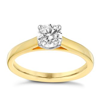 18ct gold 2/3ct claw set solitaire diamond ring - Product number 3111016