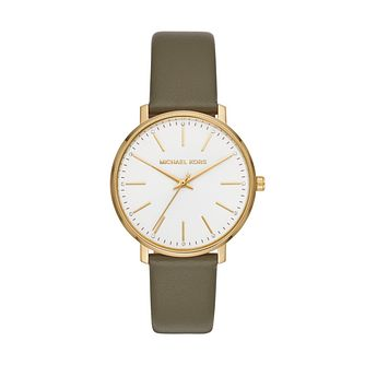 Michael Kors Pyper Ladies' Green Leather Strap Watch - Product number 3112039