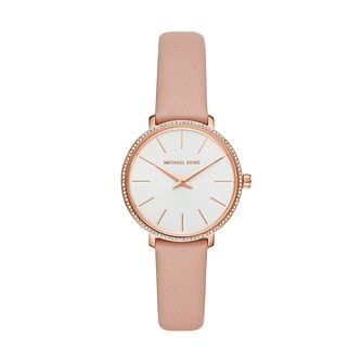 Michael Kors Mini Pyper Ladies' Stone Set Pink Strap Watch - Product number 3112047