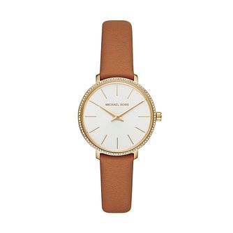 Michael Kors Mini Pyper Ladies' Stone Set Orange Strap Watch - Product number 3112462