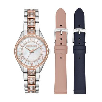 Michael Kors Lauryn Ladies' Two Tone Watch & Strap Gift Set - Product number 3112586