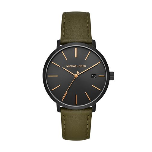 Michael Kors Blake Men's Green Leather Strap Watch - Product number 3113434