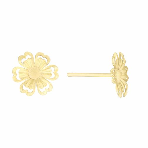 9ct Yellow Gold Flower Stud Earrings - Product number 3114600