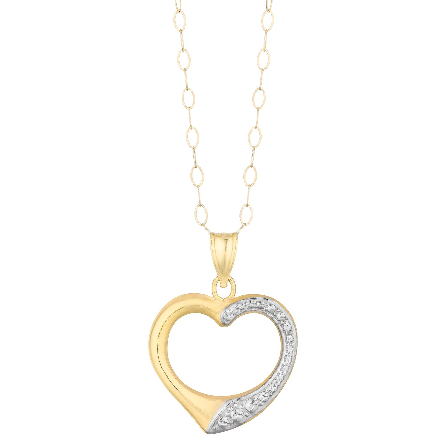 9ct Two Tone Gold Open Heart Pendant - Product number 3114651