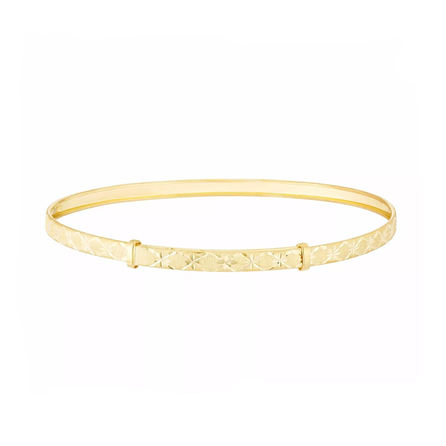 9ct Yellow Gold Diamond Cut Star Pattern Expandable Bangle - Product number 3114791