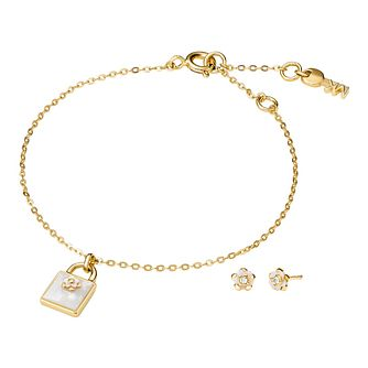 Michael Kors Colour 14ct Gold Plated Earring & Bracelet Set - Product number 3115283