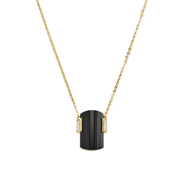 Michael Kors Mercer Link 14ct Gold Plated Onyx Necklace - Product number 3115844
