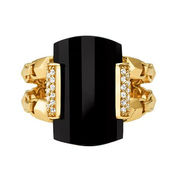 Michael Kors Mercer Link 14ct Gold Plated Black Onyx Ring - Product number 3116018