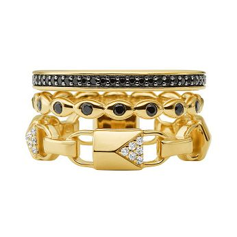 Michael Kors Mercer Link 14ct Gold Plated Black Onyx Ring - Product number 3116034