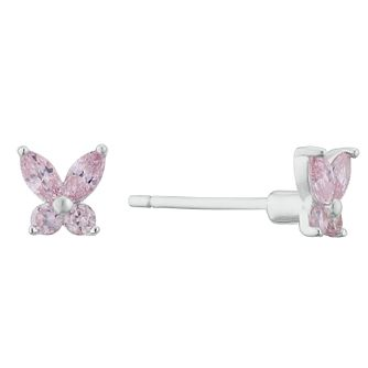 Kids' Silver Pink Cubic Zirconia Butterfly Stud Earrings - Product number 3128253