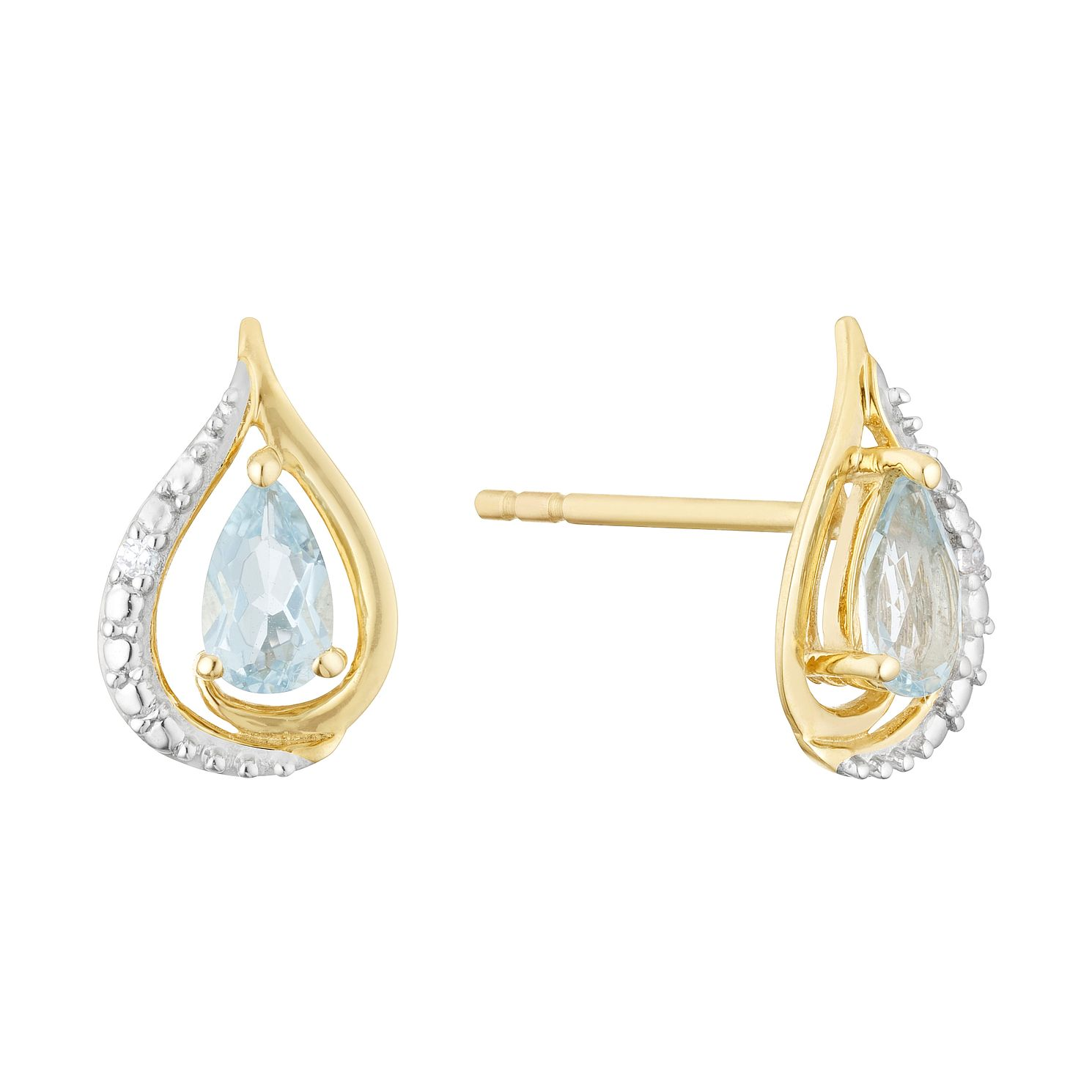 9ct Yellow Gold Blue Topaz & CZ Teardrop Stud Earrings - Product number 3128296