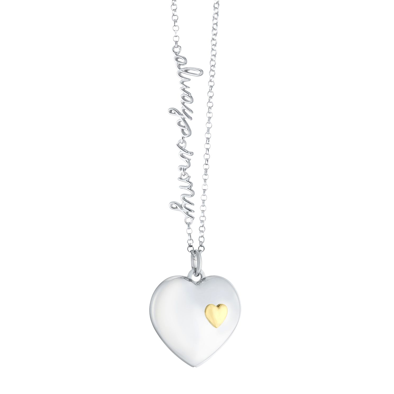 Silver & 9ct Yellow Gold 'Always In My Heart' Slide Locket - Product number 3128326