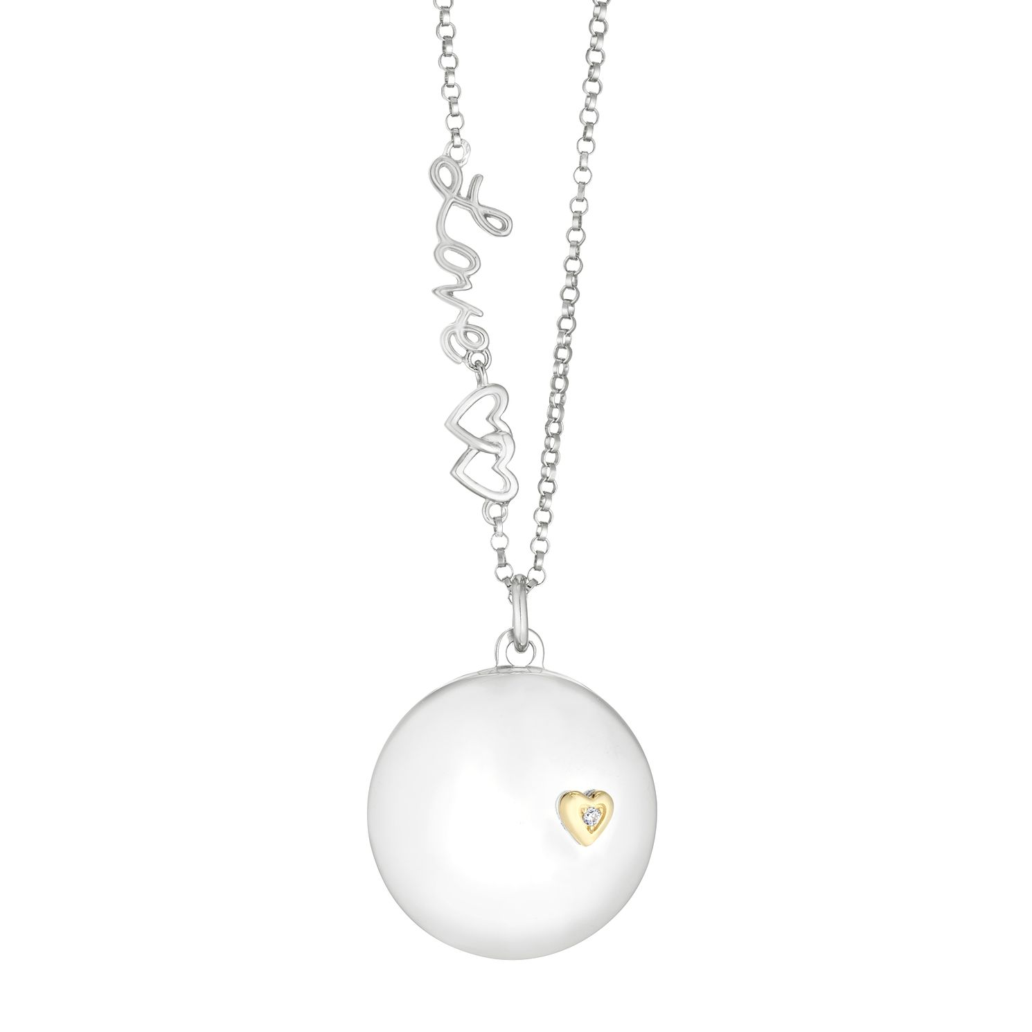 Silver & 9ct Yellow Gold 'Love' Round Slide Locket - Product number 3128334