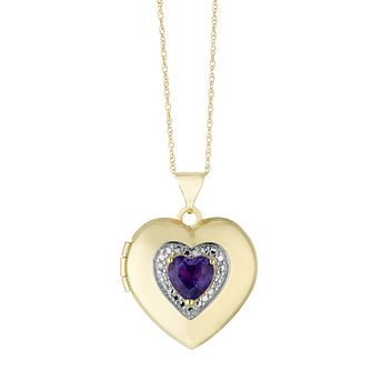 9ct Yellow Gold Cubic Zirconia Amethyst Heart Locket - Product number 3128342