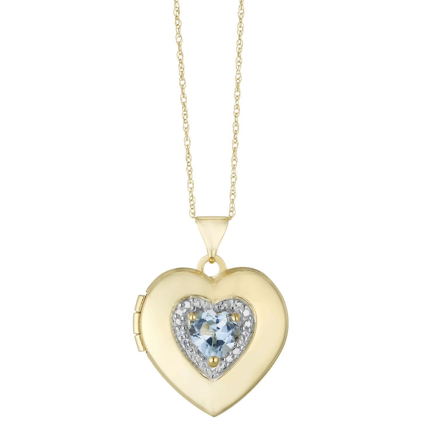 9ct Yellow Gold Cubic Zirconia Blue Topaz Heart Locket - Product number 3128350