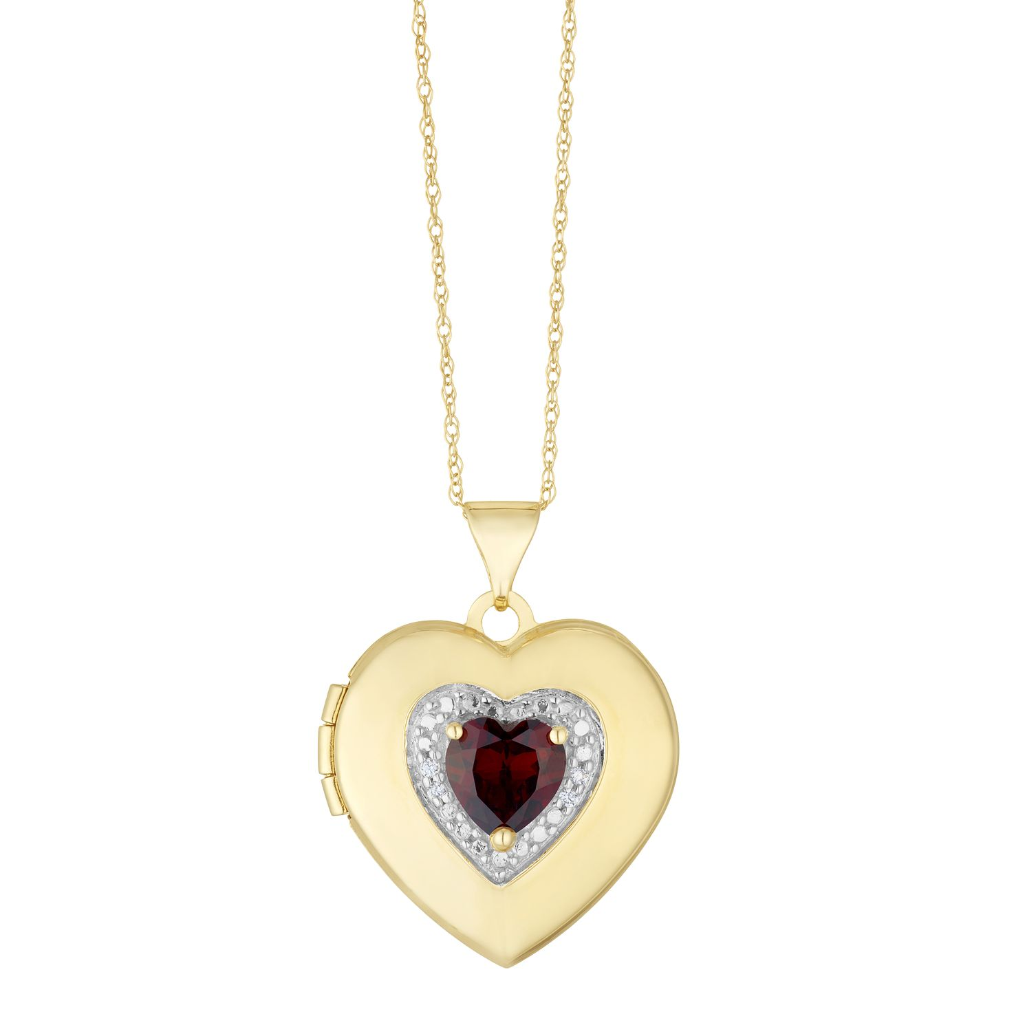 9ct Yellow Gold Cubic Zirconia Garnet Heart Locket - Product number 3128369