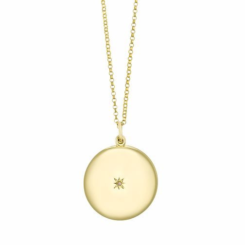 Silver & Yellow Gold Plated Diamond Round Locket - Product number 3128393