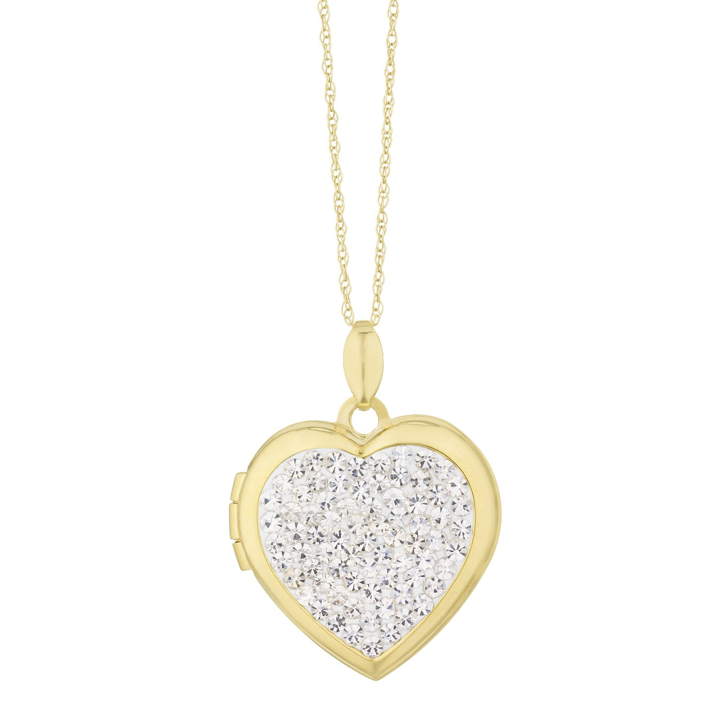 9ct Yellow Gold Crystal Heart Locket - Product number 3128415