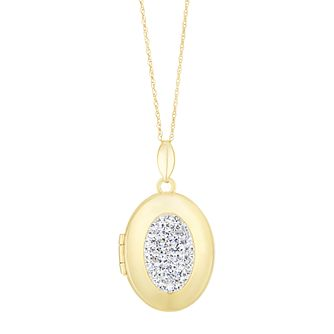 9ct Yellow Gold Crystal Oval Locket - Product number 3128423