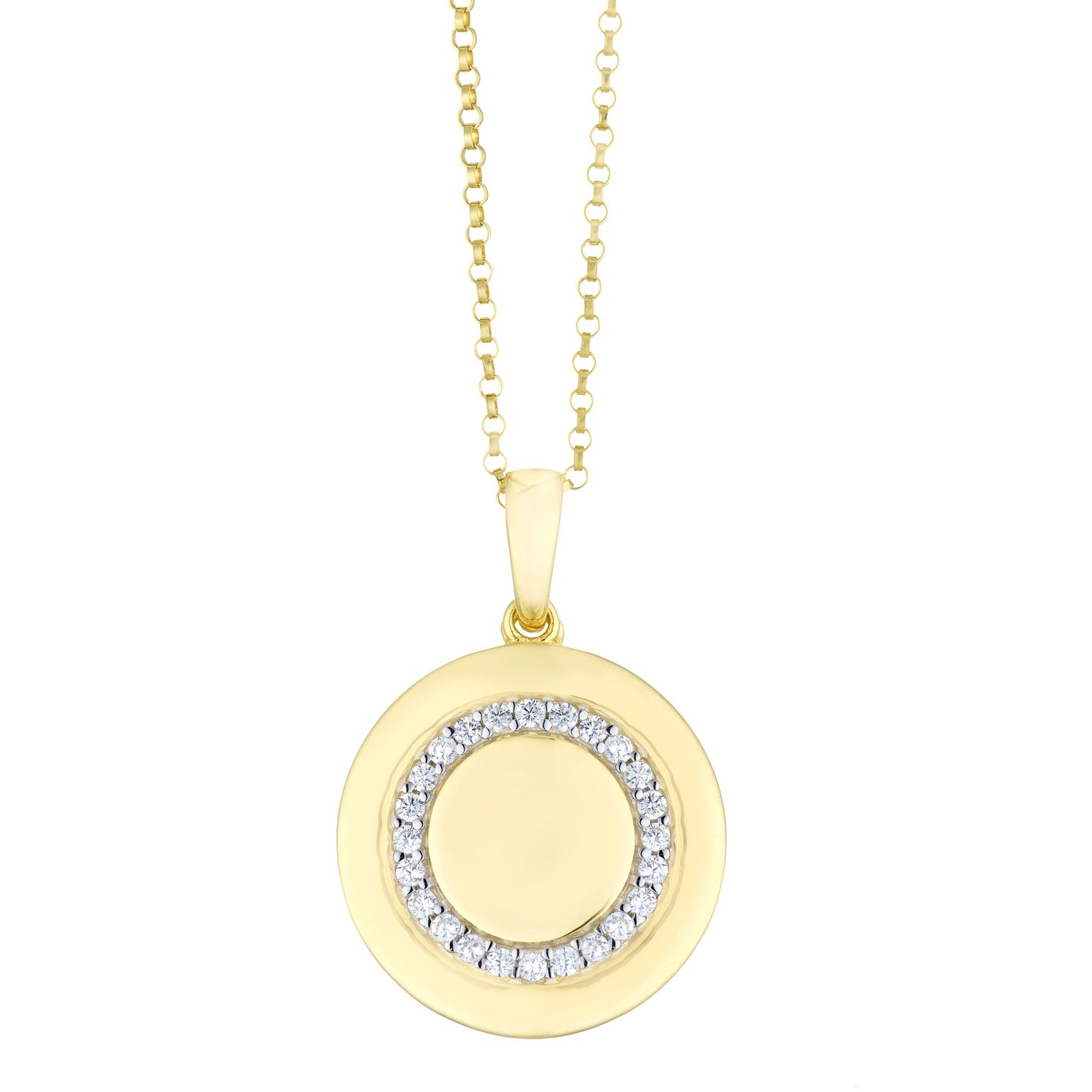 Silver & Yellow Gold Plated Cubic Zirconia Round Locket - Product number 3128458