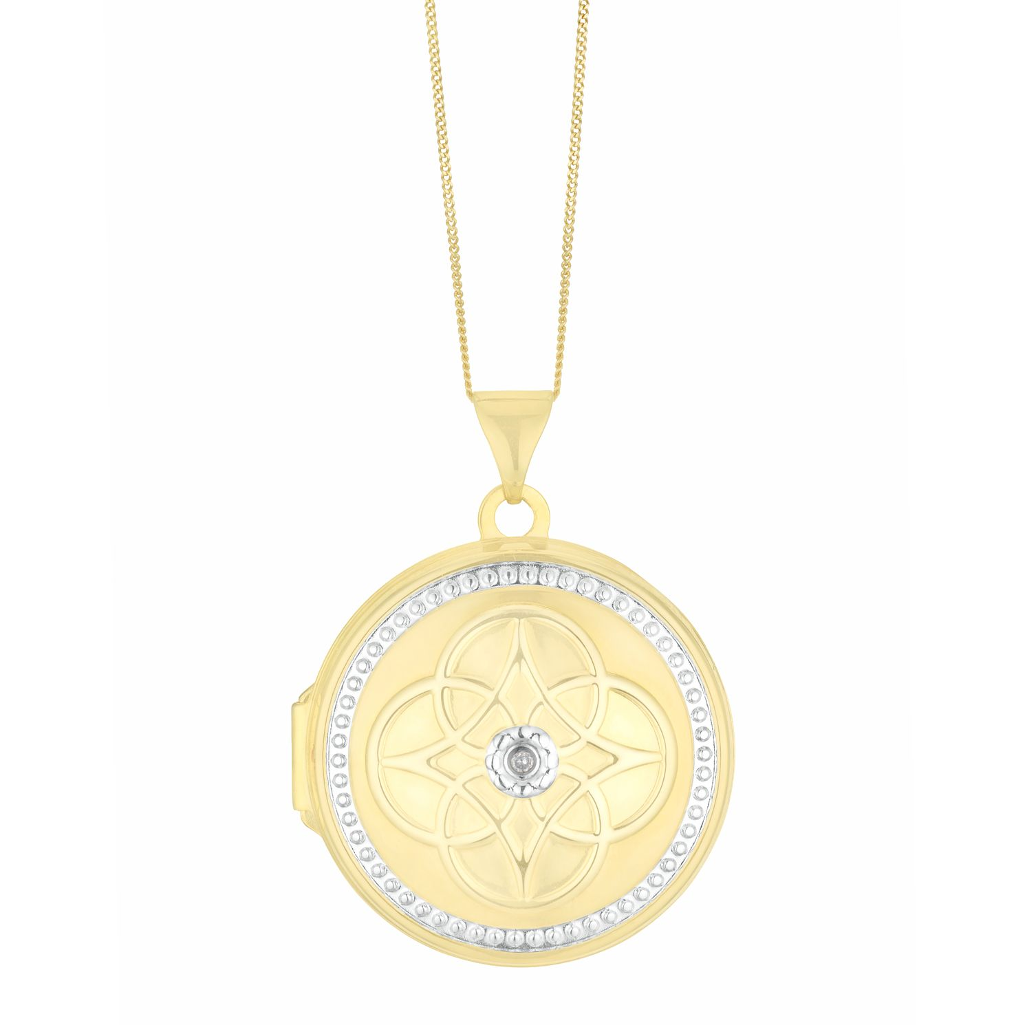 Silver & Yellow Gold Plated Diamond Patterned Round Locket - Product number 3128466