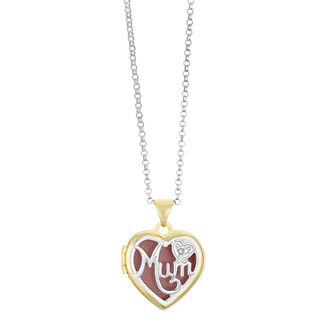 Silver & Yellow Gold Plated Diamond Mum Heart Locket - Product number 3128504