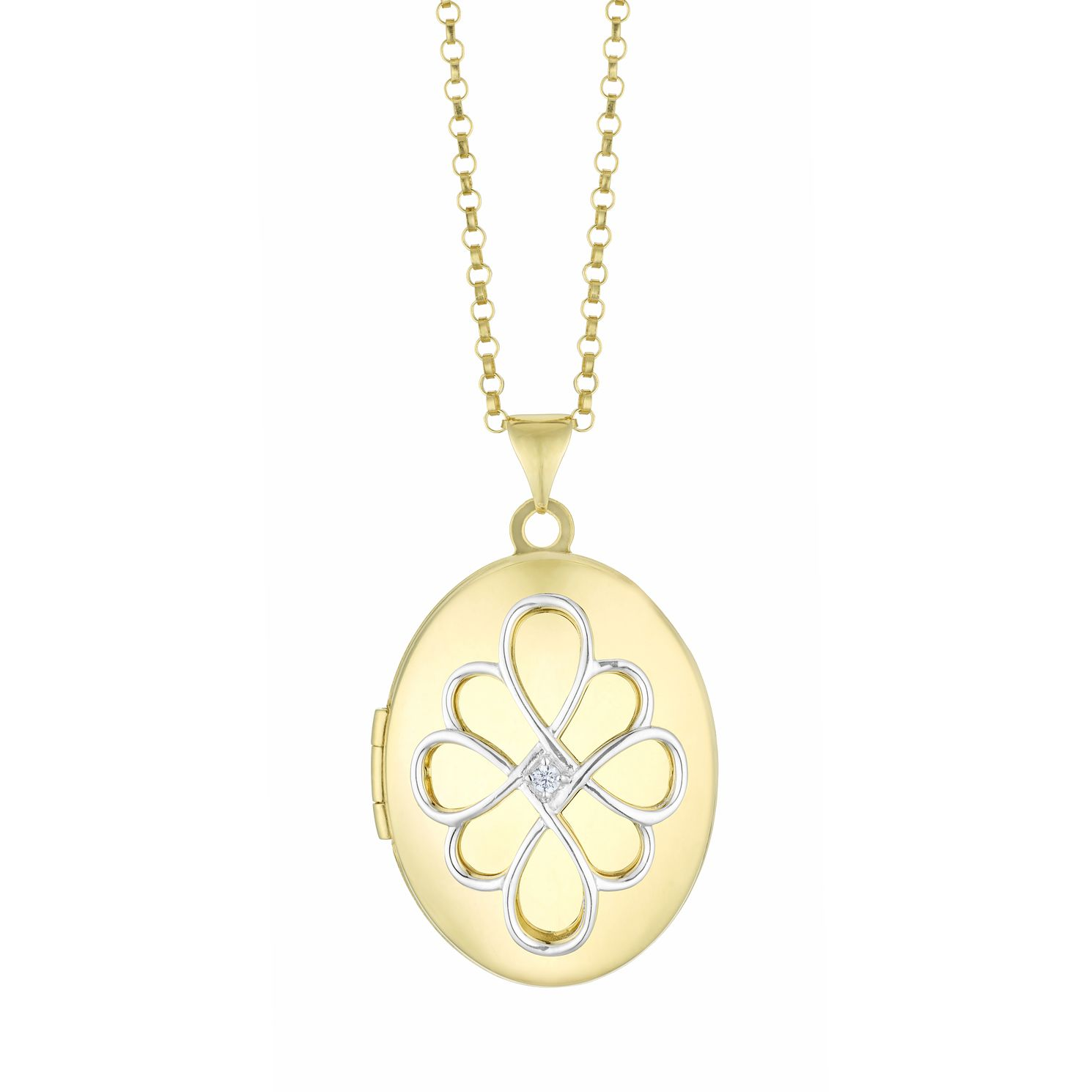 Silver & Yellow Gold Plated CZ Patterned Oval Locket - Product number 3128512
