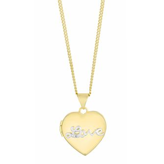 Silver & Yellow Gold Plated Diamond Love Heart Locket - Product number 3128520