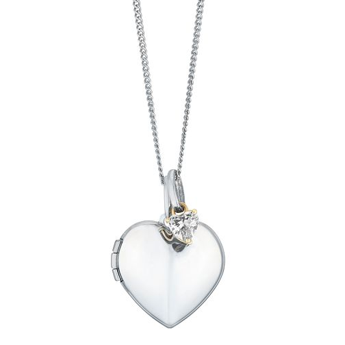 Silver & 9ct Yellow Gold White Cubic Zirconia Heart Locket - Product number 3128539