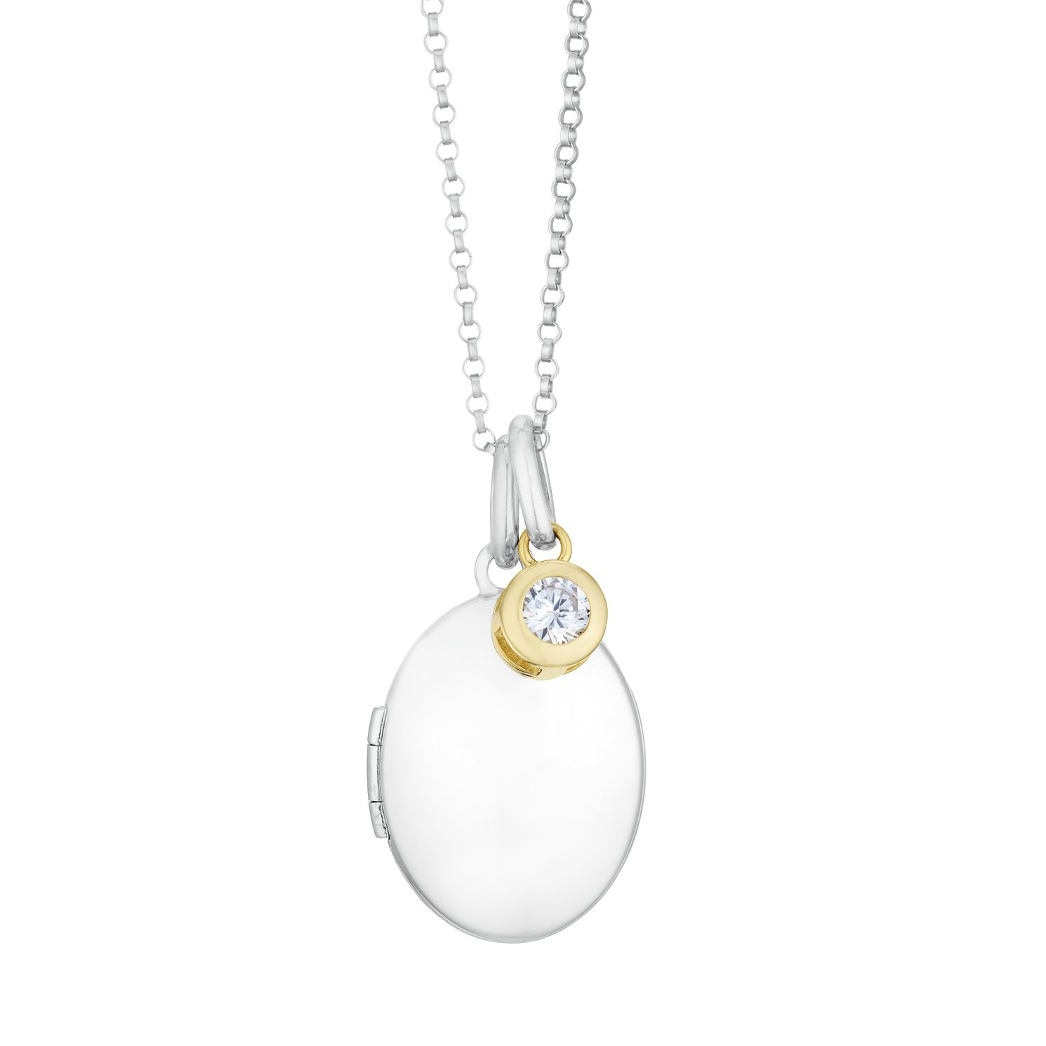 Silver & 9ct Yellow Gold Cubic Zirconia Oval Locket - Product number 3128547